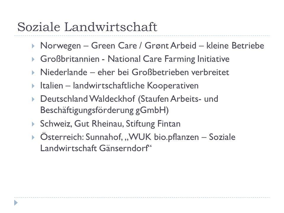 Soziale Landwirtschaft  Norwegen – Green Care / Grønt Arbeid – kleine Betriebe  Großbritannien - National Care Farming Initiative  Niederlande – eh