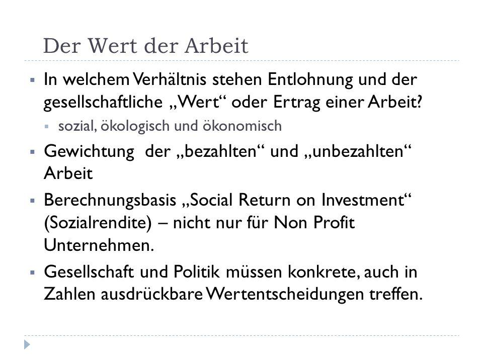 """Der Wert der Arbeit  In welchem Verhältnis stehen Entlohnung und der gesellschaftliche """"Wert"""" oder Ertrag einer Arbeit?  sozial, ökologisch und ökon"""