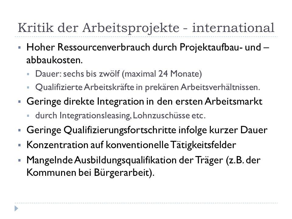Kritik der Arbeitsprojekte - international  Hoher Ressourcenverbrauch durch Projektaufbau- und – abbaukosten.  Dauer: sechs bis zwölf (maximal 24 Mo