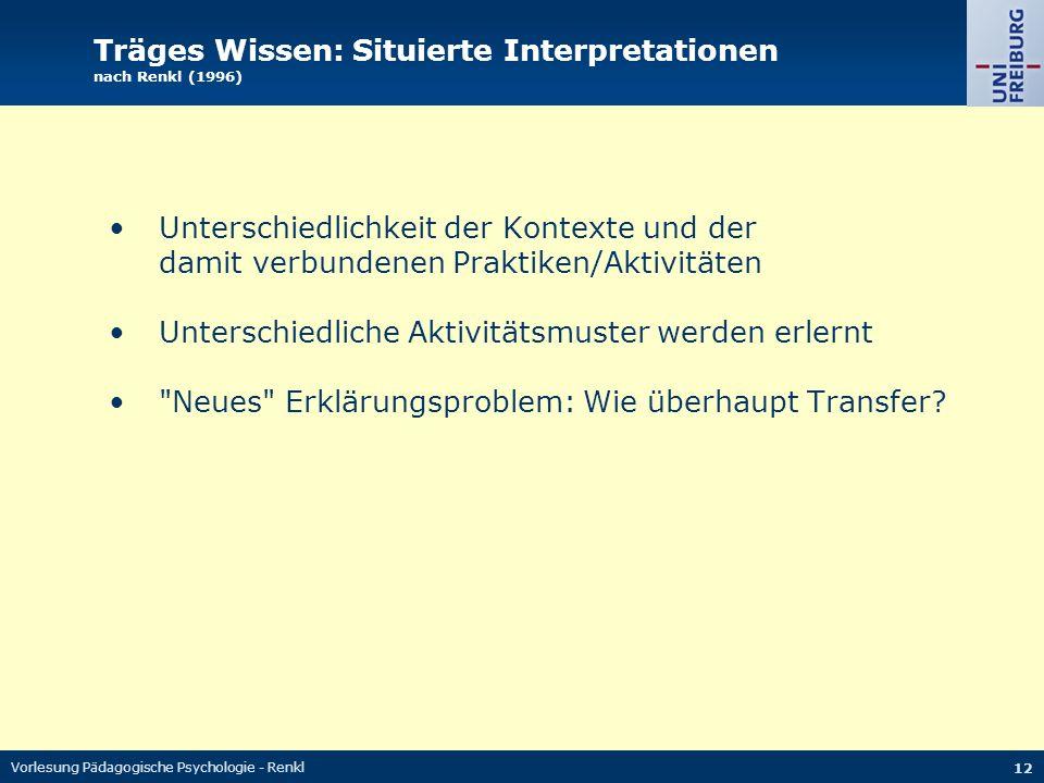 Vorlesung Pädagogische Psychologie - Renkl 12 Träges Wissen: Situierte Interpretationen nach Renkl (1996) Unterschiedlichkeit der Kontexte und der dam