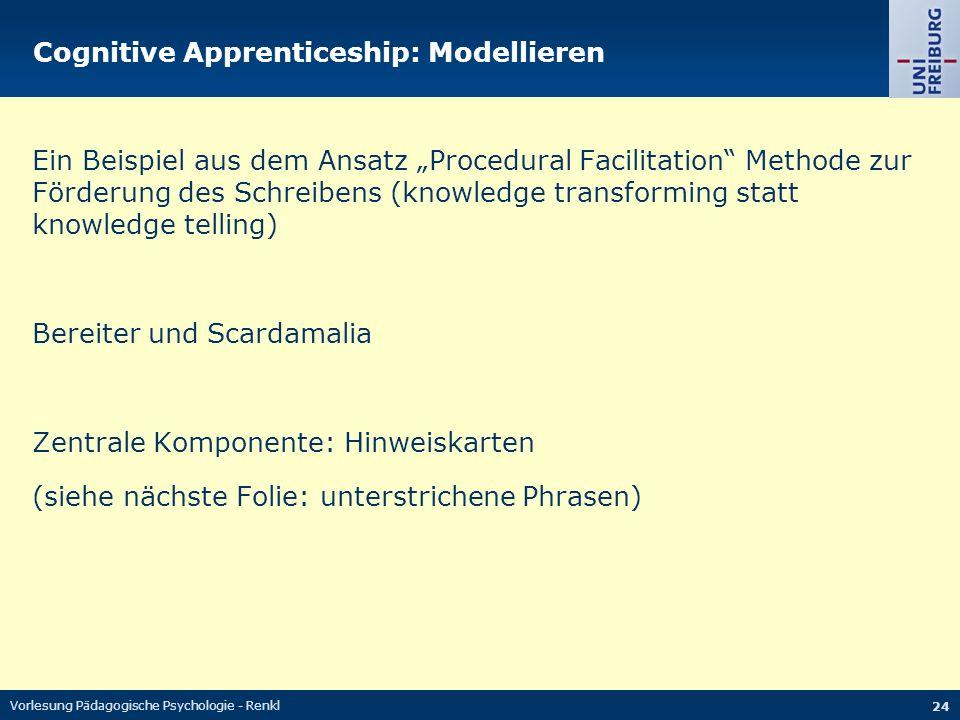 """Vorlesung Pädagogische Psychologie - Renkl 24 Cognitive Apprenticeship: Modellieren Ein Beispiel aus dem Ansatz """"Procedural Facilitation"""" Methode zur"""