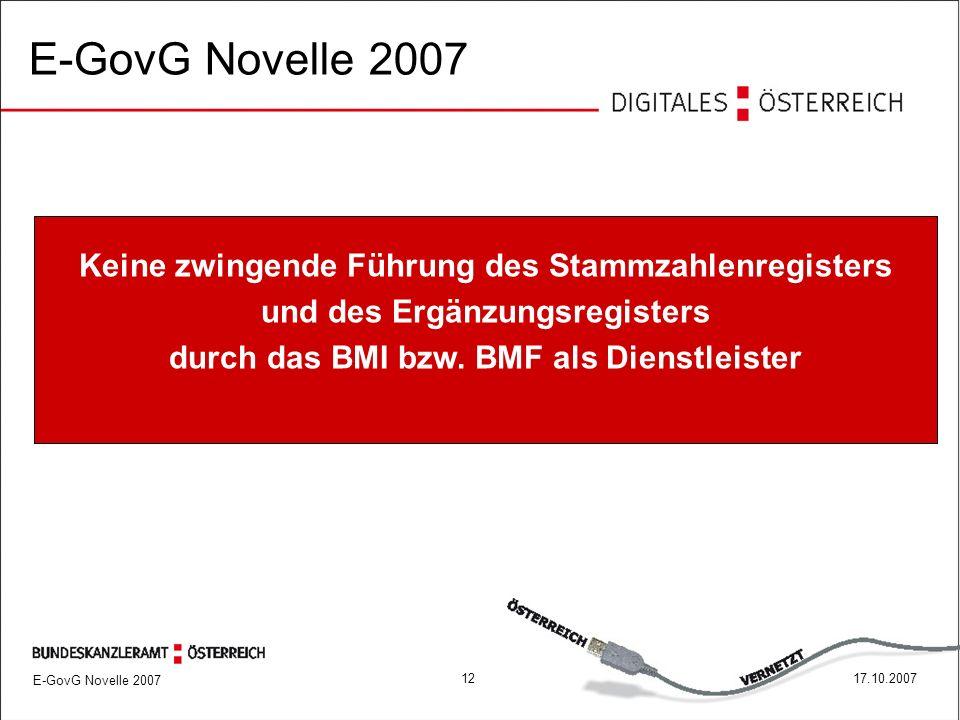 E-GovG Novelle 2007 1217.10.2007 Keine zwingende Führung des Stammzahlenregisters und des Ergänzungsregisters durch das BMI bzw.