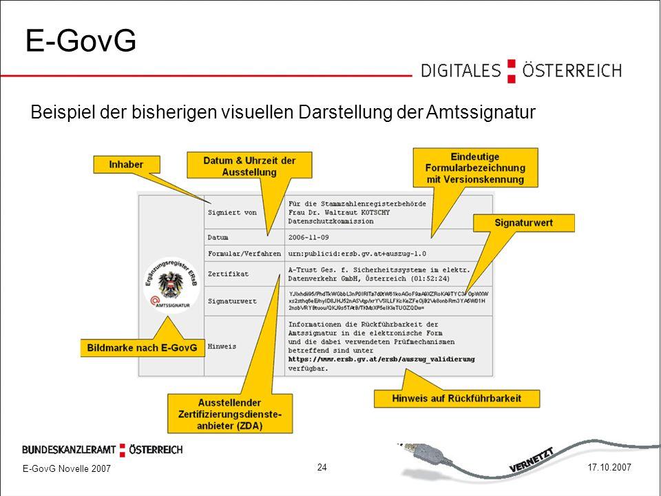 E-GovG Novelle 2007 2417.10.2007 E-GovG Beispiel der bisherigen visuellen Darstellung der Amtssignatur