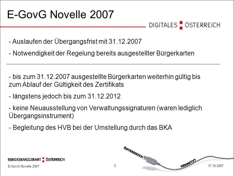 517.10.2007 E-GovG Novelle 2007 - Auslaufen der Übergangsfrist mit 31.12.2007 - Notwendigkeit der Regelung bereits ausgestellter Bürgerkarten - bis zum 31.12.2007 ausgestellte Bürgerkarten weiterhin gültig bis zum Ablauf der Gültigkeit des Zertifikats - längstens jedoch bis zum 31.12.2012 - keine Neuausstellung von Verwaltungssignaturen (waren lediglich Übergangsinstrument) - Begleitung des HVB bei der Umstellung durch das BKA