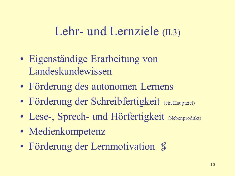 10 Lehr- und Lernziele (II.3) Eigenständige Erarbeitung von Landeskundewissen Förderung des autonomen Lernens Förderung der Schreibfertigkeit (ein Hauptziel) Lese-, Sprech- und Hörfertigkeit (Nebenprodukt) Medienkompetenz Förderung der Lernmotivation 
