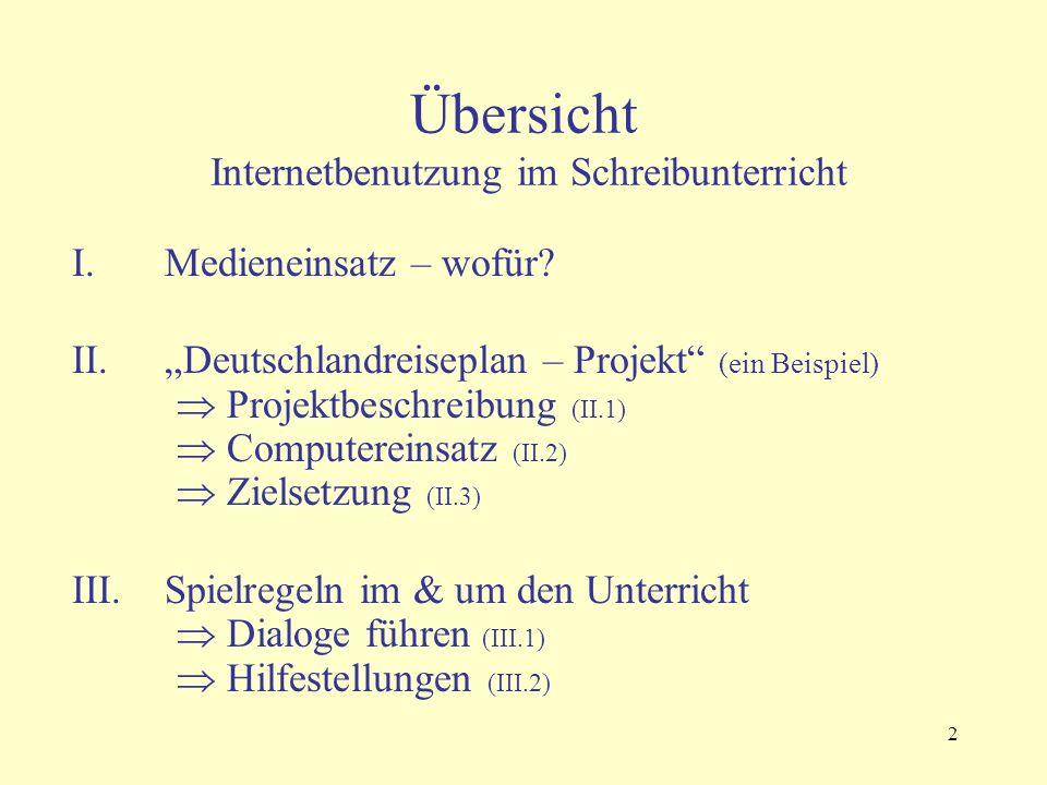 2 Übersicht Internetbenutzung im Schreibunterricht I.Medieneinsatz – wofür.