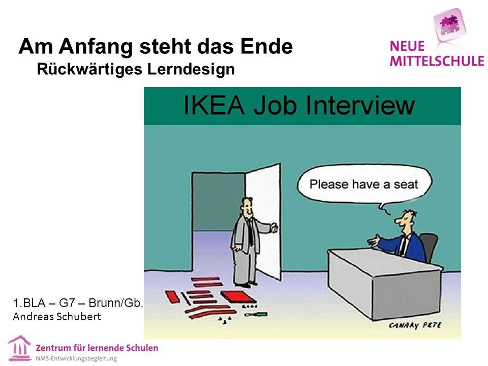 Am Anfang steht das Ende Rückwärtiges Lerndesign 1.BLA – G7 – Brunn/Gb. Andreas Schubert