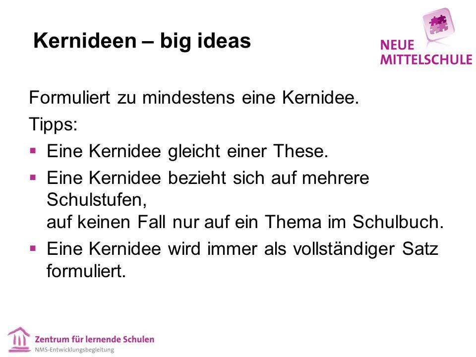 Kernideen – big ideas Formuliert zu mindestens eine Kernidee. Tipps:  Eine Kernidee gleicht einer These.  Eine Kernidee bezieht sich auf mehrere Sch