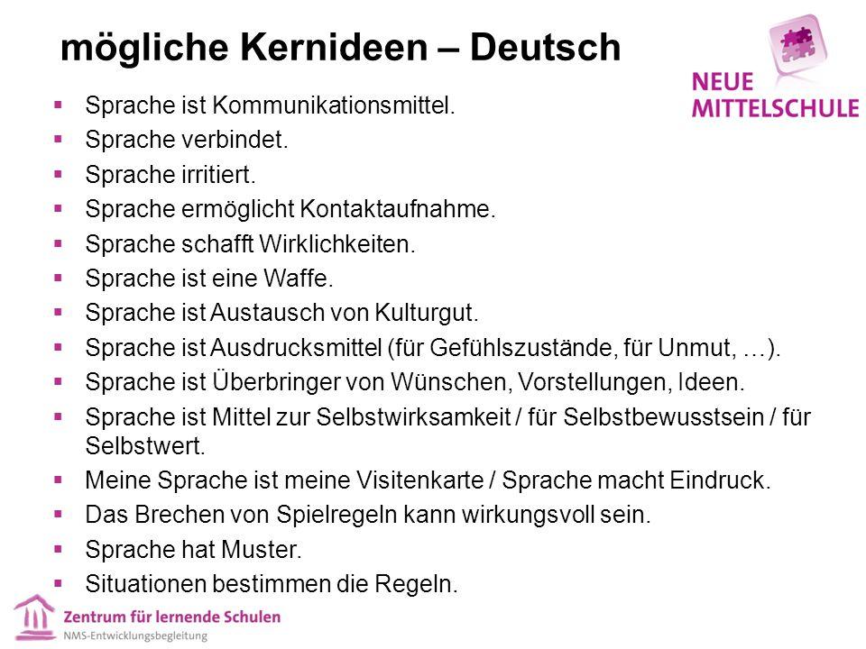 mögliche Kernideen – Deutsch  Sprache ist Kommunikationsmittel.  Sprache verbindet.  Sprache irritiert.  Sprache ermöglicht Kontaktaufnahme.  Spr