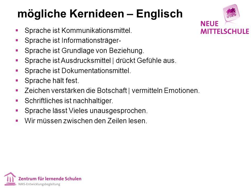 mögliche Kernideen – Englisch  Sprache ist Kommunikationsmittel.  Sprache ist Informationsträger-  Sprache ist Grundlage von Beziehung.  Sprache i