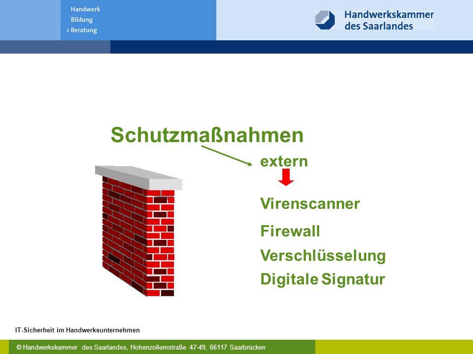 © Handwerkskammer des Saarlandes, Hohenzollernstraße 47-49, 66117 Saarbrücken IT-Sicherheit im Handwerksunternehmen Virenscanner Firewall extern Verschlüsselung Digitale Signatur Schutzmaßnahmen