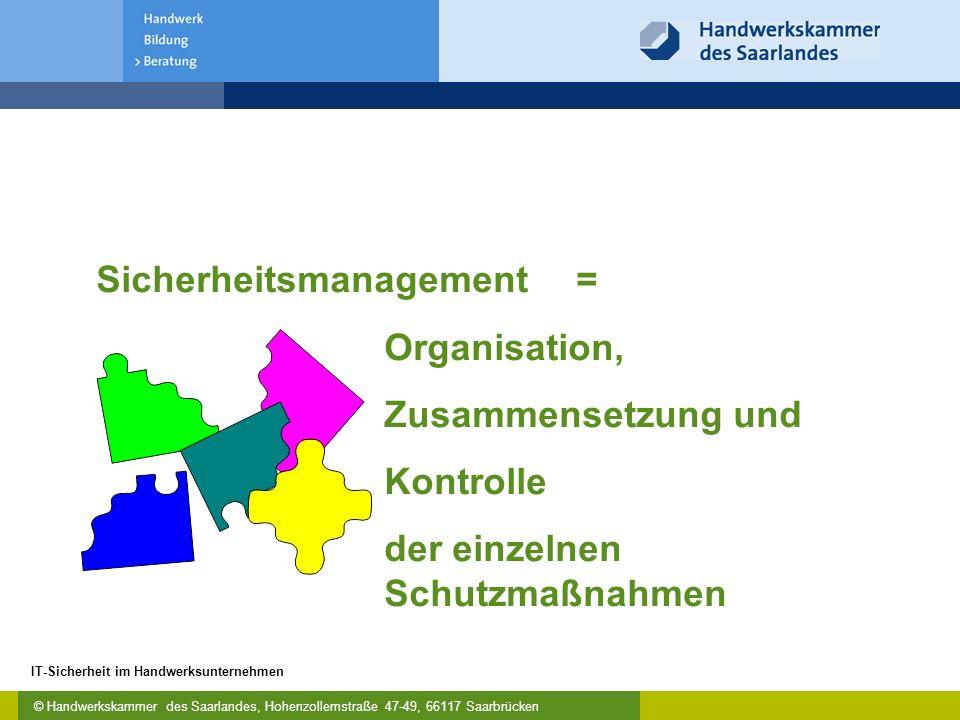 © Handwerkskammer des Saarlandes, Hohenzollernstraße 47-49, 66117 Saarbrücken IT-Sicherheit im Handwerksunternehmen Sicherheitsmanagement= Organisatio