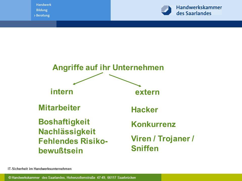 © Handwerkskammer des Saarlandes, Hohenzollernstraße 47-49, 66117 Saarbrücken IT-Sicherheit im Handwerksunternehmen Risikoanalyse - Welche Risiken gibt es.