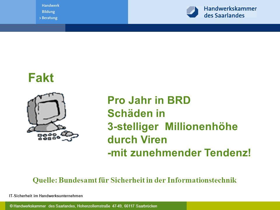 © Handwerkskammer des Saarlandes, Hohenzollernstraße 47-49, 66117 Saarbrücken IT-Sicherheit im Handwerksunternehmen Quelle: Bundesamt für Sicherheit in der Informationstechnik Pro Jahr in BRD Schäden in 3-stelliger Millionenhöhe durch Viren -mit zunehmender Tendenz.