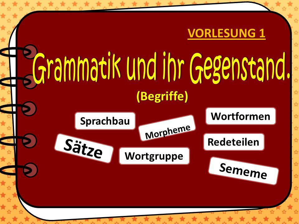 VORLESUNG 1 Sprachbau Sememe Sätze Redeteilen Wortformen Wortgruppe Morpheme (Begriffe)