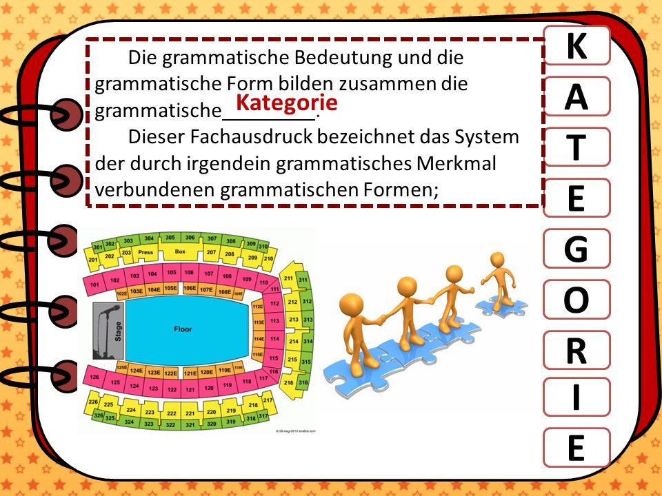 K A T E G R O Die grammatische Bedeutung und die grammatische Form bilden zusammen die grammatische. Dieser Fachausdruck bezeichnet das System der dur