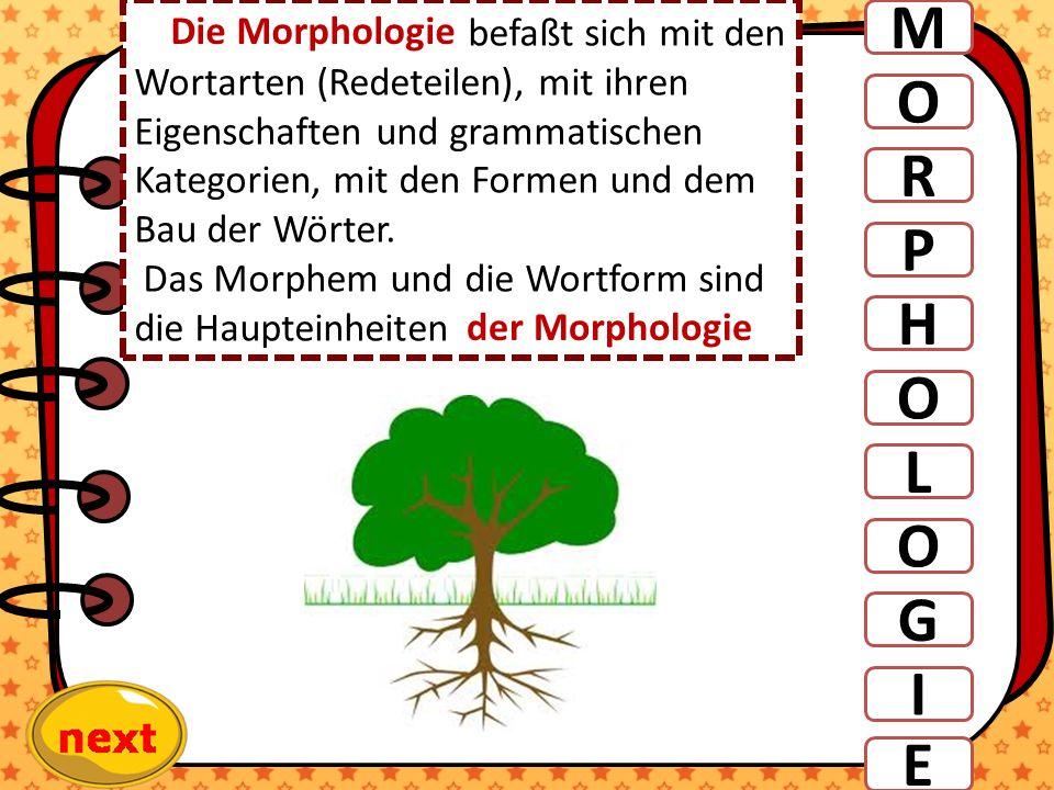 M O R P H L O befaßt sich mit den Wortarten (Redeteilen), mit ihren Eigenschaften und grammatischen Kategorien, mit den Formen und dem Bau der Wörter.