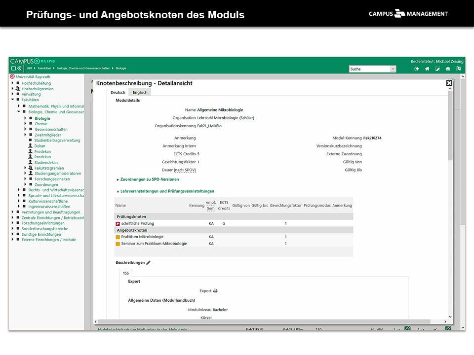 Prüfungs- und Angebotsknoten des Moduls