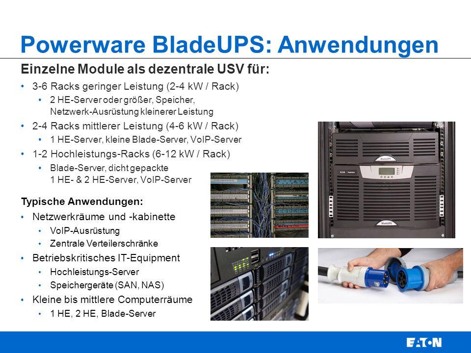 Powerware BladeUPS: Anwendungen Parallele Module für N+1-Redundanz bis zu 60 kW für: 15-30 Racks geringer Leistung (2-4 kW / Rack) 2 HE-Server oder größer, Speicher, Netzwerk-Ausrüstung kleinerer Leistung 10-15 Racks mittlerer Leistung (4-6 kW / Rack) 1 HE-Server, kleine Blade-Server, VoIP-Server 5-10 Hochleistungs-Racks (6-12 kW / Rack) Blade-Server, dicht gepackte 1 HE- & 2 HE-Server, VoIP-Server Typische Anwendungen: Große Netzwerkräume / Kabinette Große VoIP-Server und -Equipments Zentrale Verteilerschränke Betriebskritisches IT-Equipment Hochleistungs-Server mit 1 HE / 2 HE Große Speichersysteme (SAN, NAS) Kleine bis mittlere Computerräume 1 HE, 2 HE, Blade-Server