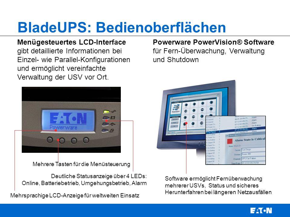 Menügesteuertes LCD-Interface gibt detaillierte Informationen bei Einzel- wie Parallel-Konfigurationen und ermöglicht vereinfachte Verwaltung der USV vor Ort.