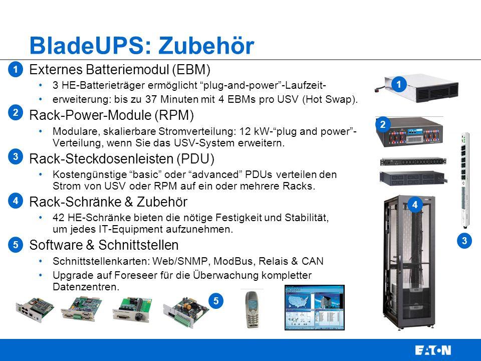 BladeUPS: Zubehör Externes Batteriemodul (EBM) 3 HE-Batterieträger ermöglicht plug-and-power -Laufzeit- erweiterung: bis zu 37 Minuten mit 4 EBMs pro USV (Hot Swap).