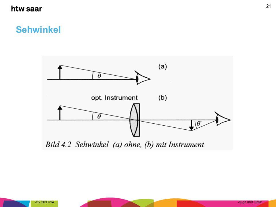 Sehwinkel WS 2013/14Auge und Optik 21