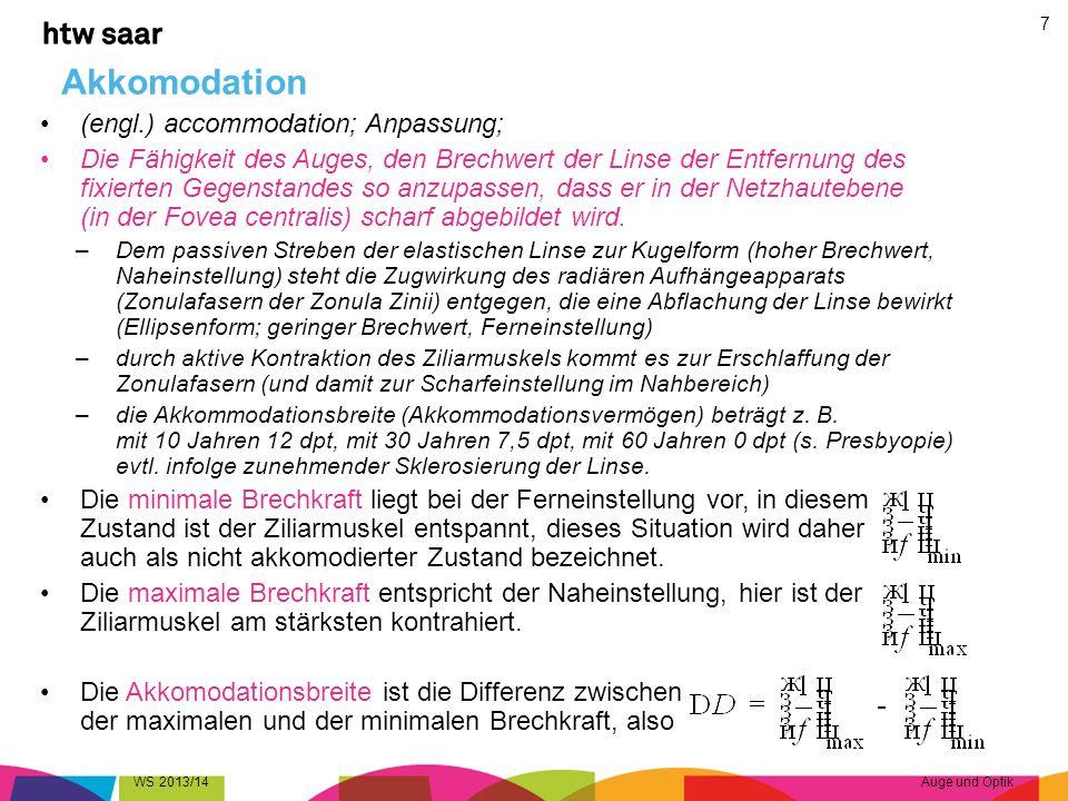 Sehwinkel WS 2013/14Auge und Optik 18