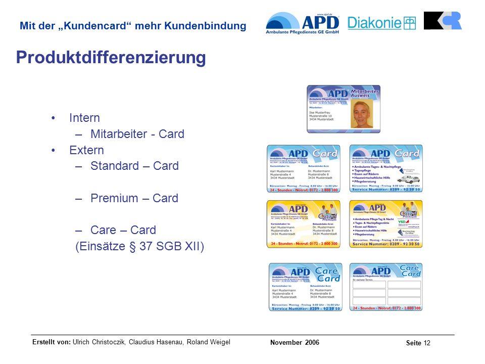 """Erstellt von: Ulrich Christoczik, Claudius Hasenau, Roland Weigel November 2006 Seite 12 Mit der """"Kundencard mehr Kundenbindung Produktdifferenzierung Intern –Mitarbeiter - Card Extern –Standard – Card –Premium – Card –Care – Card (Einsätze § 37 SGB XII)"""