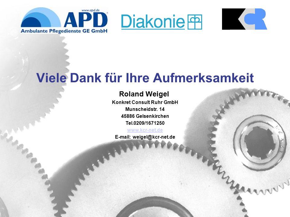 Viele Dank für Ihre Aufmerksamkeit Roland Weigel Konkret Consult Ruhr GmbH Munscheidstr.