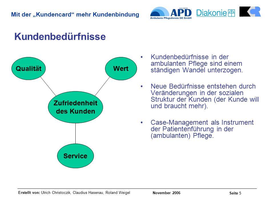 """Erstellt von: Ulrich Christoczik, Claudius Hasenau, Roland Weigel November 2006 Seite 5 Mit der """"Kundencard mehr Kundenbindung Kundenbedürfnisse Kundenbedürfnisse in der ambulanten Pflege sind einem ständigen Wandel unterzogen."""