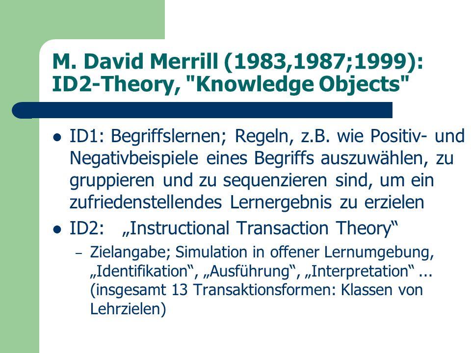 M. David Merrill (1983,1987;1999): ID2-Theory,