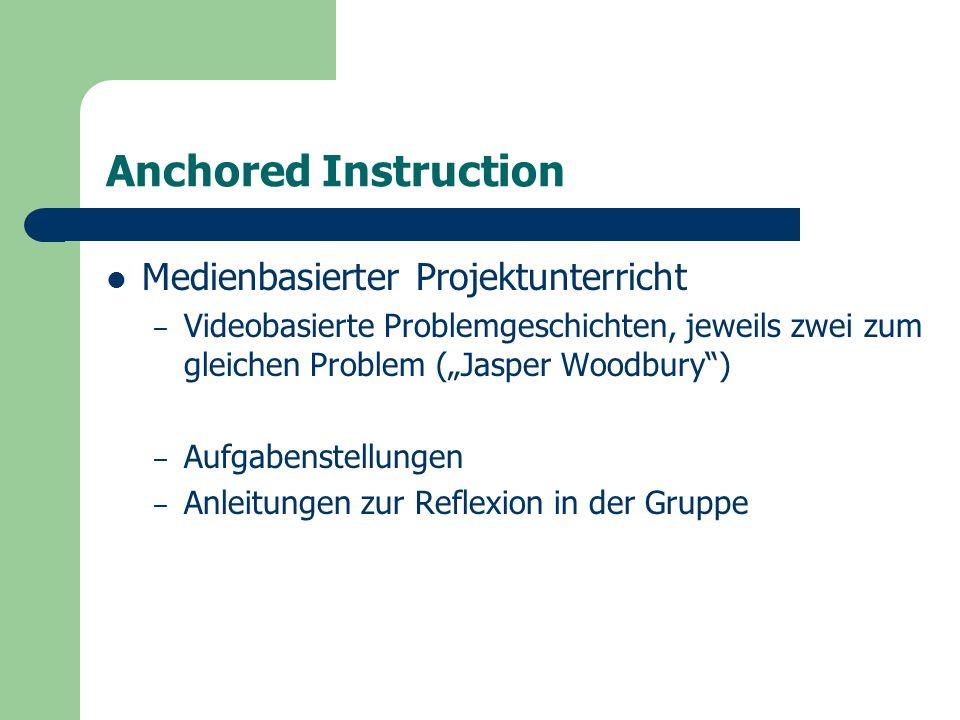 """Anchored Instruction Medienbasierter Projektunterricht – Videobasierte Problemgeschichten, jeweils zwei zum gleichen Problem (""""Jasper Woodbury ) – Aufgabenstellungen – Anleitungen zur Reflexion in der Gruppe"""