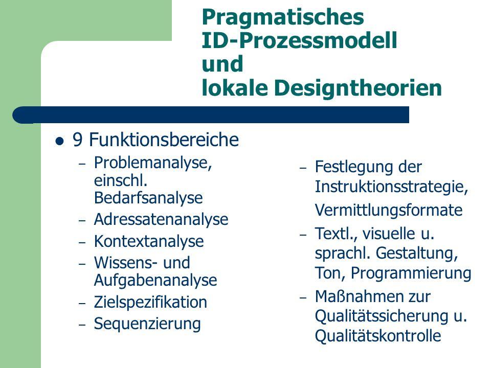 Pragmatisches ID-Prozessmodell und lokale Designtheorien 9 Funktionsbereiche – Problemanalyse, einschl.