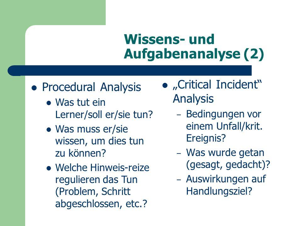 """Wissens- und Aufgabenanalyse (2) """"Critical Incident Analysis – Bedingungen vor einem Unfall/krit."""