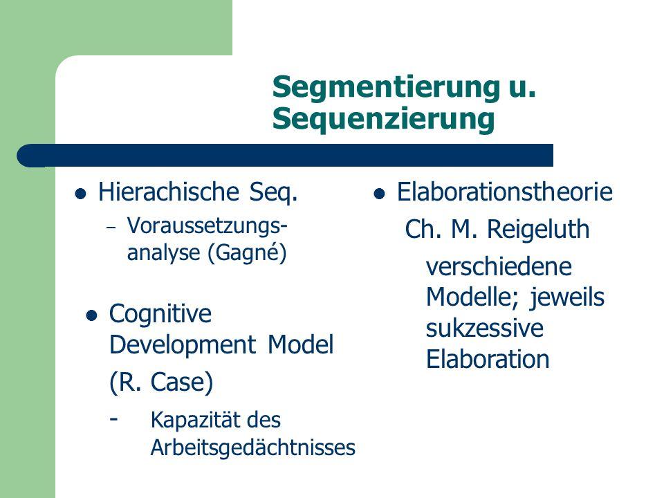 Segmentierung u. Sequenzierung Hierachische Seq.