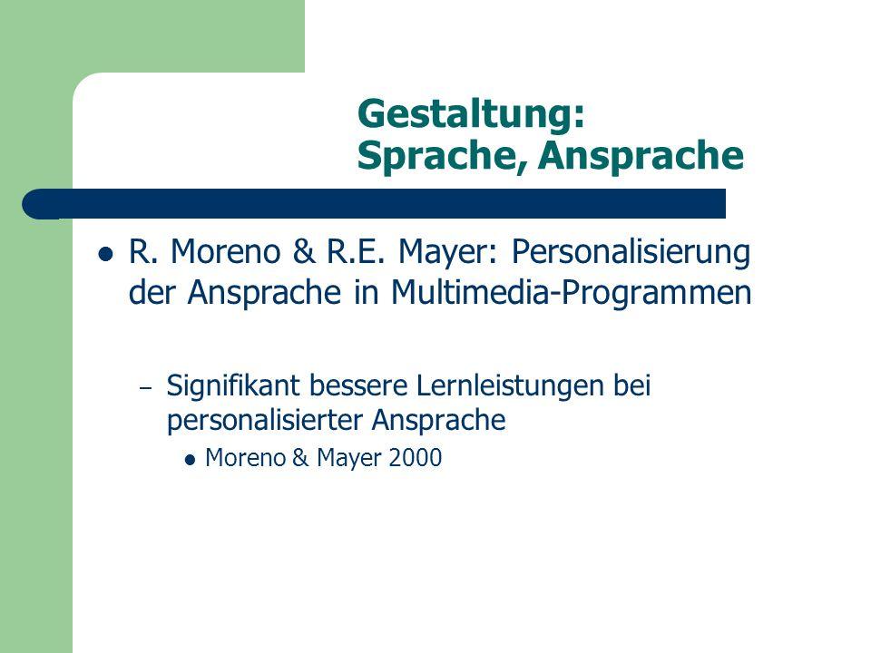 Gestaltung: Sprache, Ansprache R. Moreno & R.E.