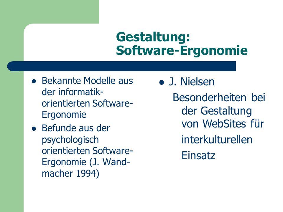 Gestaltung: Software-Ergonomie Bekannte Modelle aus der informatik- orientierten Software- Ergonomie Befunde aus der psychologisch orientierten Software- Ergonomie (J.