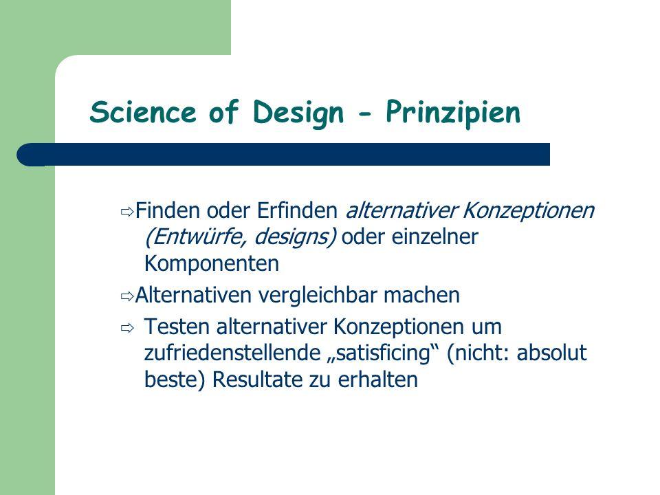 """Science of Design - Prinzipien  Finden oder Erfinden alternativer Konzeptionen (Entwürfe, designs) oder einzelner Komponenten  Alternativen vergleichbar machen  Testen alternativer Konzeptionen um zufriedenstellende """"satisficing (nicht: absolut beste) Resultate zu erhalten"""