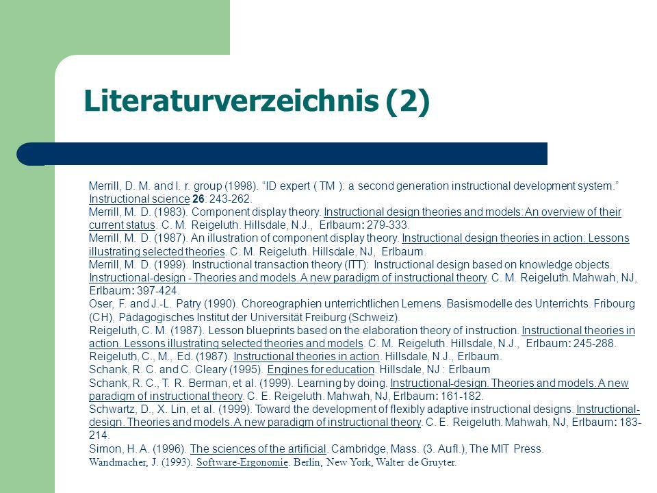 Literaturverzeichnis (2) Merrill, D. M. and I. r.