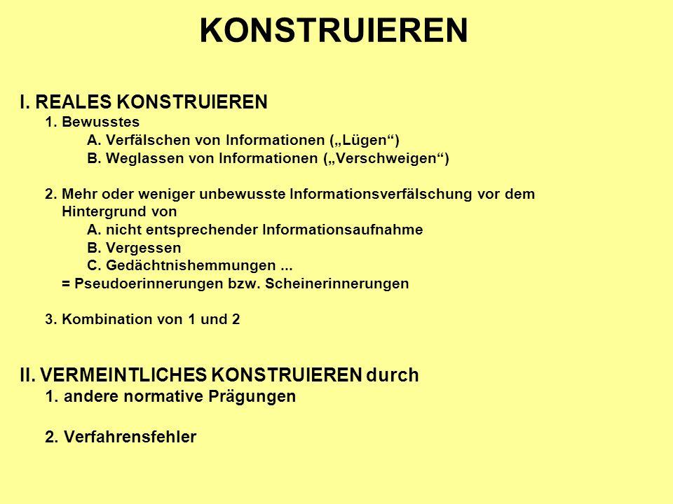 KONSTRUIEREN I. REALES KONSTRUIEREN 1. Bewusstes A.