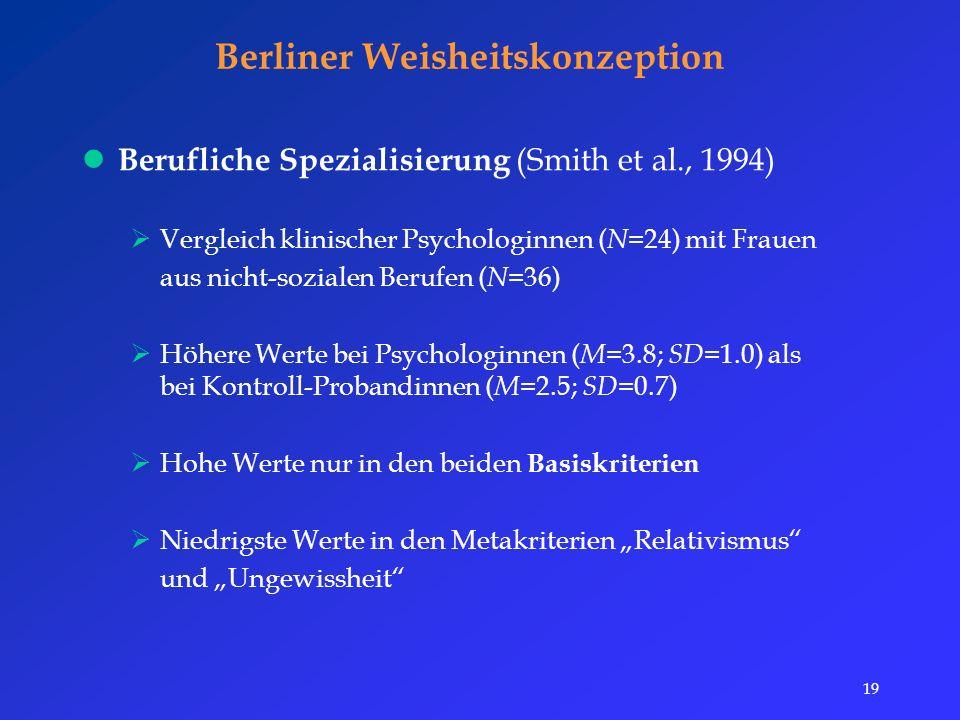 """19 Berliner Weisheitskonzeption Berufliche Spezialisierung (Smith et al., 1994)  Vergleich klinischer Psychologinnen ( N =24) mit Frauen aus nicht-sozialen Berufen ( N =36)  Höhere Werte bei Psychologinnen ( M =3.8; SD =1.0) als bei Kontroll-Probandinnen ( M =2.5; SD =0.7)  Hohe Werte nur in den beiden Basiskriterien  Niedrigste Werte in den Metakriterien """"Relativismus und """"Ungewissheit"""
