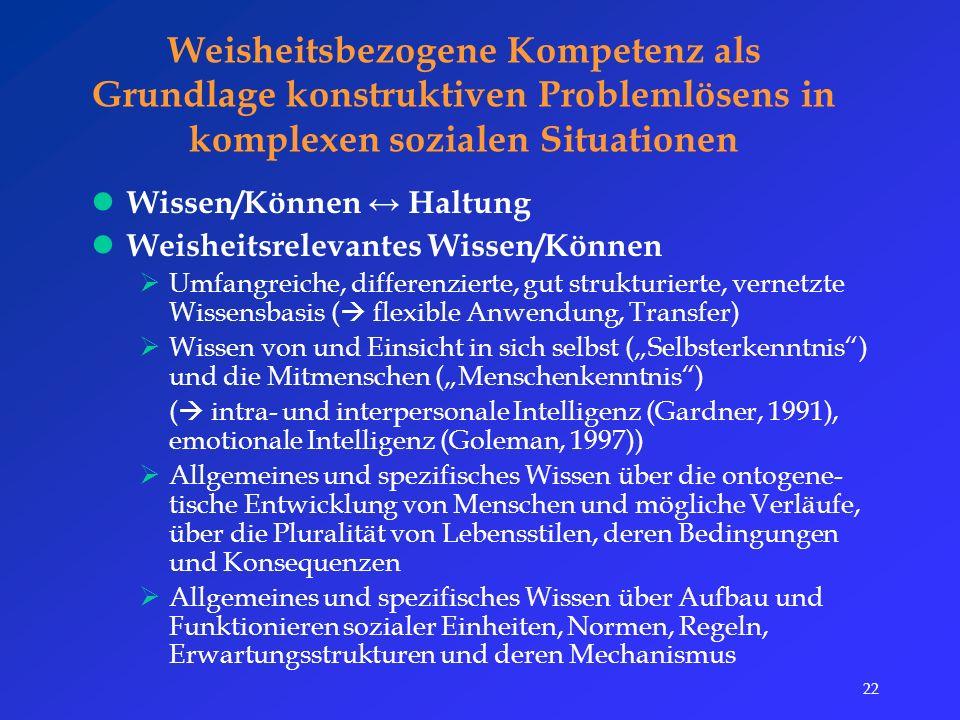 """22 Weisheitsbezogene Kompetenz als Grundlage konstruktiven Problemlösens in komplexen sozialen Situationen Wissen/Können ↔ Haltung Weisheitsrelevantes Wissen/Können  Umfangreiche, differenzierte, gut strukturierte, vernetzte Wissensbasis (  flexible Anwendung, Transfer)  Wissen von und Einsicht in sich selbst (""""Selbsterkenntnis ) und die Mitmenschen (""""Menschenkenntnis ) (  intra- und interpersonale Intelligenz (Gardner, 1991), emotionale Intelligenz (Goleman, 1997))  Allgemeines und spezifisches Wissen über die ontogene- tische Entwicklung von Menschen und mögliche Verläufe, über die Pluralität von Lebensstilen, deren Bedingungen und Konsequenzen  Allgemeines und spezifisches Wissen über Aufbau und Funktionieren sozialer Einheiten, Normen, Regeln, Erwartungsstrukturen und deren Mechanismus"""
