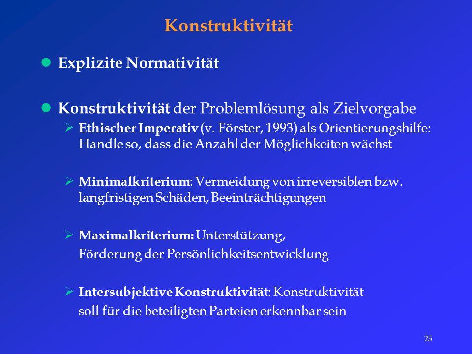 25 Konstruktivität Explizite Normativität Konstruktivität der Problemlösung als Zielvorgabe  Ethischer Imperativ (v.