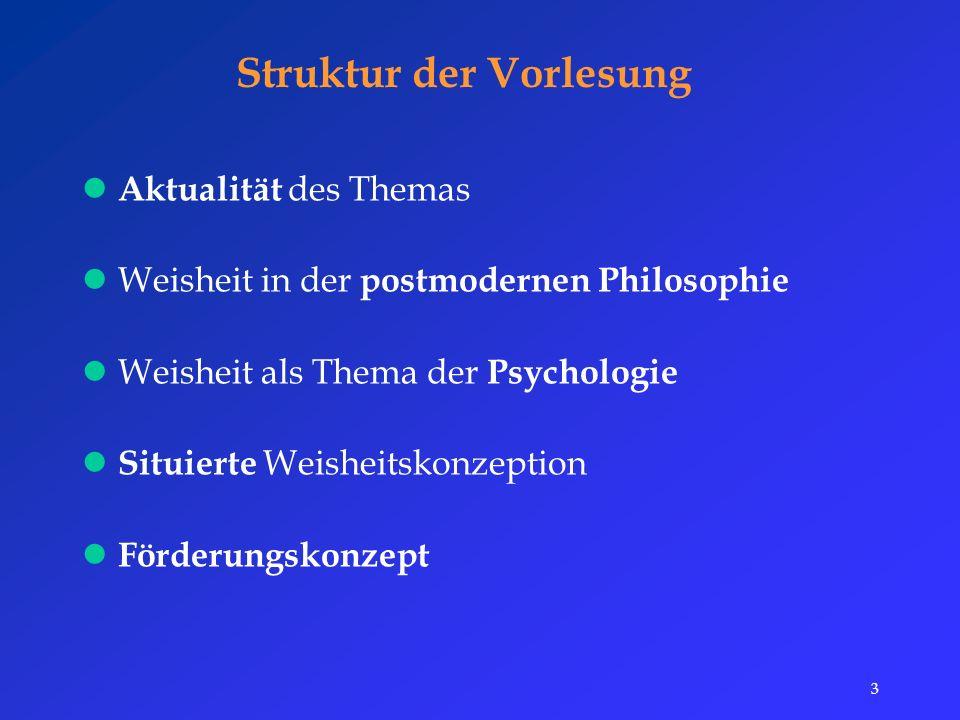 3 Struktur der Vorlesung Aktualität des Themas Weisheit in der postmodernen Philosophie Weisheit als Thema der Psychologie Situierte Weisheitskonzeption Förderungskonzept