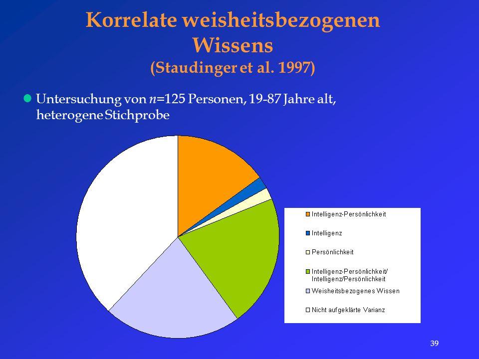 39 Korrelate weisheitsbezogenen Wissens (Staudinger et al.