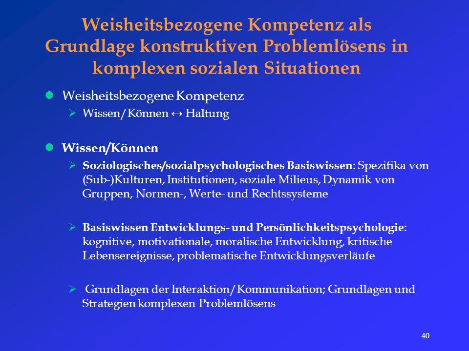 40 Weisheitsbezogene Kompetenz als Grundlage konstruktiven Problemlösens in komplexen sozialen Situationen Weisheitsbezogene Kompetenz  Wissen/Können ↔ Haltung Wissen/Können  Soziologisches/sozialpsychologisches Basiswissen : Spezifika von (Sub-)Kulturen, Institutionen, soziale Milieus, Dynamik von Gruppen, Normen-, Werte- und Rechtssysteme  Basiswissen Entwicklungs- und Persönlichkeitspsychologie : kognitive, motivationale, moralische Entwicklung, kritische Lebensereignisse, problematische Entwicklungsverläufe  Grundlagen der Interaktion/Kommunikation; Grundlagen und Strategien komplexen Problemlösens