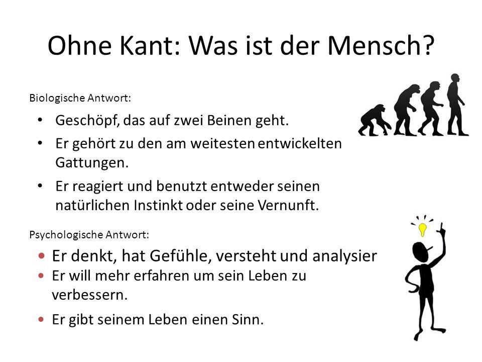 Ohne Kant: Was ist der Mensch? Geschöpf, das auf zwei Beinen geht. Er gehört zu den am weitesten entwickelten Gattungen. Er reagiert und benutzt entwe