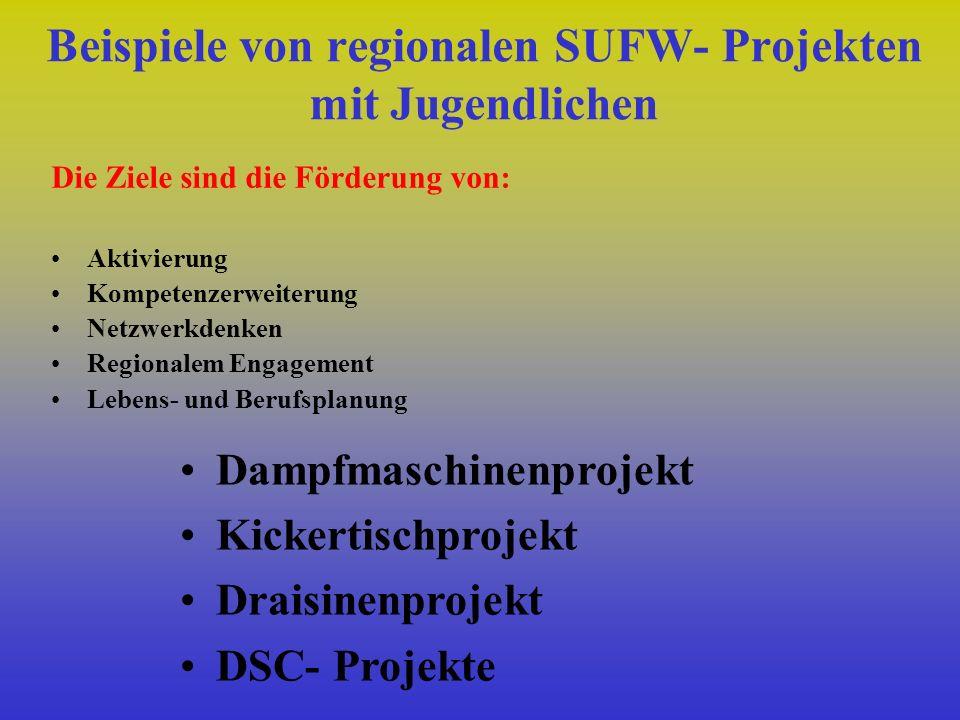Beispiele von regionalen SUFW- Projekten mit Jugendlichen Die Ziele sind die Förderung von: Aktivierung Kompetenzerweiterung Netzwerkdenken Regionalem Engagement Lebens- und Berufsplanung Dampfmaschinenprojekt Kickertischprojekt Draisinenprojekt DSC- Projekte