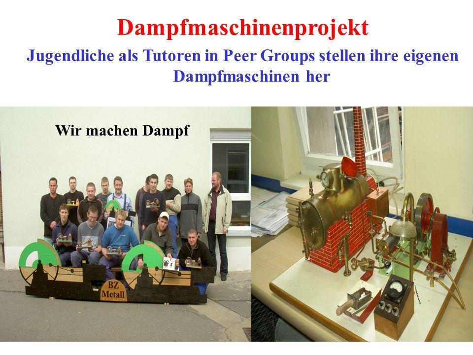 Dampfmaschinenprojekt Jugendliche als Tutoren in Peer Groups stellen ihre eigenen Dampfmaschinen her Wir machen Dampf
