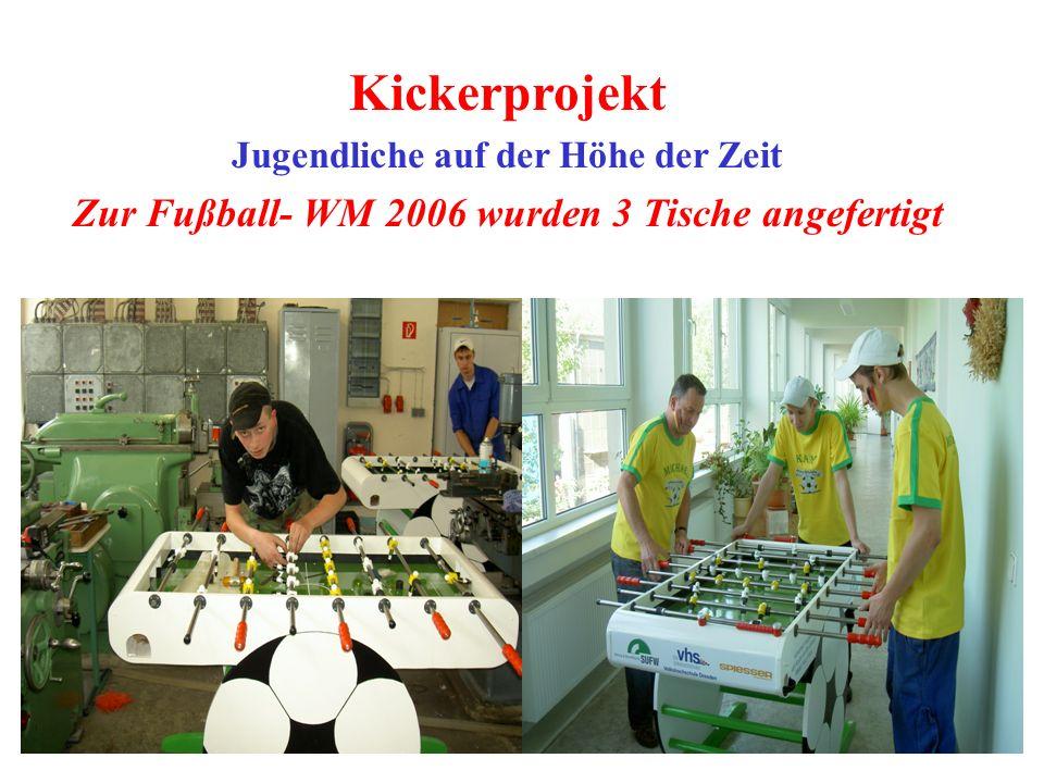 Kickerprojekt Jugendliche auf der Höhe der Zeit Zur Fußball- WM 2006 wurden 3 Tische angefertigt